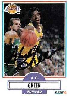A.C. Green Signed Los Angeles Lakers 1990-91 Fleer Basketball Trading Card
