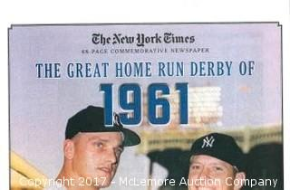 Mickey Mantle Unsigned New York Yankees Home Run Derby of 1961 Greatest Moments in History New York Times Historic Newspaper Compilation