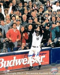 Charlie Hayes Signed New York Yankees 8x10 Photo of Last Out in 1996 World Series