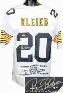 Rocky Bleier Signed White TB Custom-Stitched Pro Style Football Jersey w/Embroidered Stats