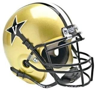 Vanderbilt Commodores Unsigned Schutt Authentic Gold Mini Helmet