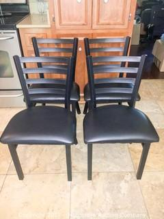 Set of 4 Steel Frame Wide, Padded Seat New Restaurant Chairs