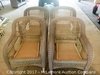 Outdoor Resin Wicker Chairs Set of 4