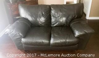 Black Leather Love Seat Couch