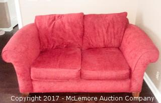 Red Cloth Love Seat Couch