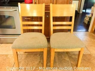 Medium Light Finished Padded Seat Wood Chairs -Two (2)
