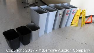 Assortment Of Waste Receptacles And Wet Floor/Caution Signs