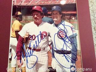 "Mike Schmidt/Ryne Sandburg Autographed Matted 8"" x 10"" Photo, Scoreboard COA"