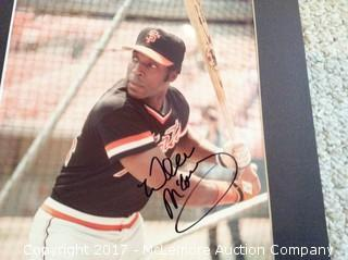 """Willie McCovey Autographed Matted 8"""" x 10"""" Photo, Scoreboard COA"""