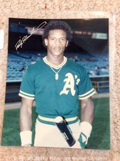 "Ricky Henderson Autographed 8"" x 10"" Photo with COA"