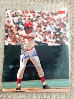 "Johnny Bench Autographed 8"" x 10"" Photo, Scoreboard COA"