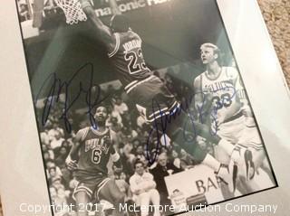 "Michael Jordan/Larry Bird Autographed Matted 8"" x 10"" Photo, Scoreboard COA"