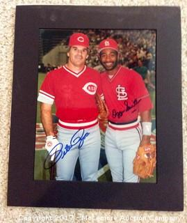 "Pete Rose/Ozzie Smith Autographed Matted 8"" x 10"" Photo with COA"