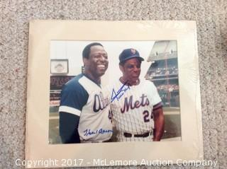 "Hank Aaron/Willie Mays Autographed Matted 8"" x 10"" Photo with COA"