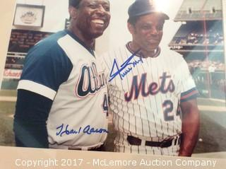 """Hank Aaron/Willie Mays Autographed Matted 8"""" x 10"""" Photo with COA"""