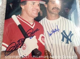 "Pete Rose/Don Mattingly Autographed Matted 8"" x 10"" Photo, Scoreboard COA"