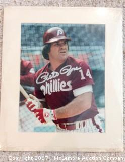 """Pete Rose Autographed 8"""" x 10"""" Matted Photo with COA"""
