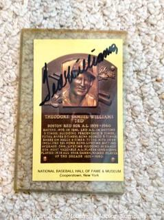 Ted Williams Autographed Hall of Fame Plaque Card Post Card from Baseball Hall of Fame with COA