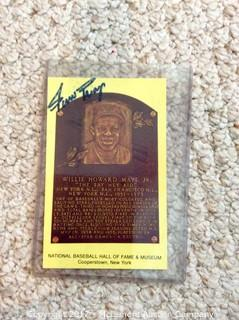 Willie Mays Autographed Hall of Fame Plaque Card Post Card from Baseball Hall of Fame with COA