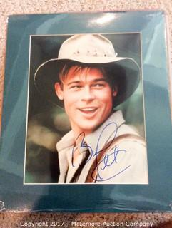 """Brad Pitt Autographed Matted 8"""" x 10"""" Photo with Hollywood COA"""