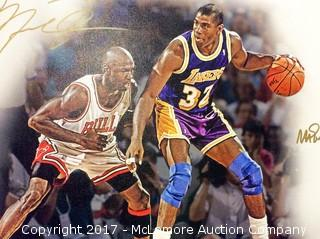 "Michael Jordan/Magic Johnson Autographed 20"" x 24"" Canvas Print with Hollywood COA"