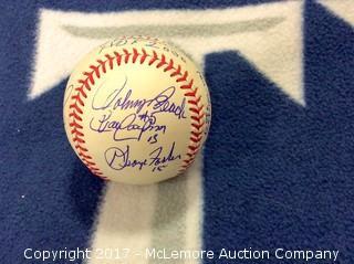 Big Red Machine Autographed Rawlings National League Baseball with Scoreboard COA