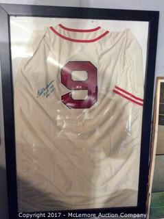 Ted Williams Autographed Framed Boston Red Sox Mitchell & Ness Jersey from Chubb's Restaurant with Scoreboard COA (Multi-Signed on Front but Faded)