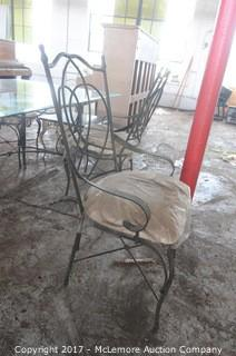 Beveled Glass Top Patio Table with Four Chairs