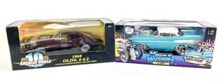 American Muscle 1968 Olds 4-4-2 & Funline Muscle Machines '57 Chevy Die Cast Metal Cars