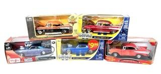 Assortment of Five 1:24 Scale Die Cast Toy Cars