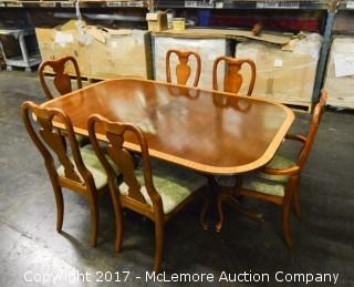 Solid Wood with Wood Inlay Dining Room Table and Six Chairs