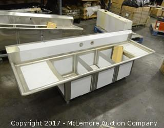 3 Well Stainless Steel Commercial Sink with Accessories