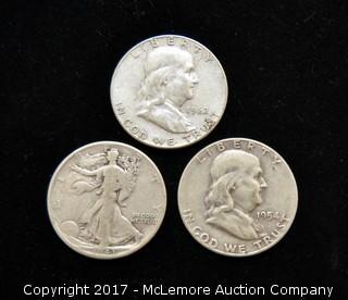 Three Silver Half Dollars