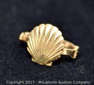 14K Yellow Gold Shell Pendant