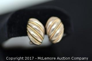 Pair of Tiffany & Co. Sterling Silver and 14K Gold Rope Trimmed Domed Pierced Earrings with Omega Wire Backs