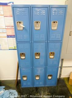 Metal Blue Employee Locker with 9 Locking Compartments