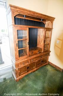 Solid Wood Display Hutch with Glass Doors