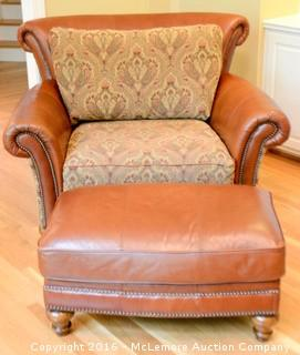 Leather and Upholstered Chair and Ottoman