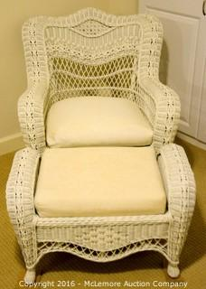 Wicker Chair and Matching Ottoman