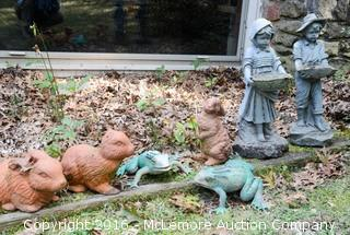 2 Composite Statues, 3 Broken Bunnies and 2 Plastic Frogs