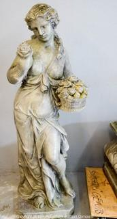 Statue of a Woman With Flowers with Base