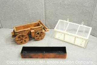Wooden Model Wagon, Metal and Glass Wall Box and Metal Box