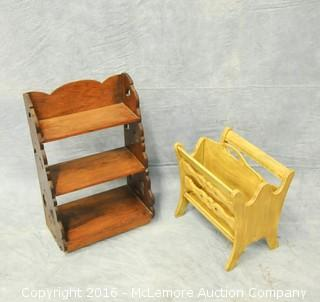 Wooden Shelf and Magazine Rack
