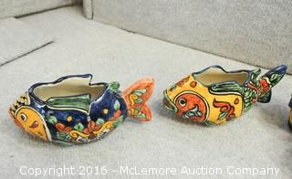 8 Piece Ceramic Decorative Aztec Style