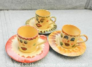 9 Piece of Colorful Cups, Saucer and Pot