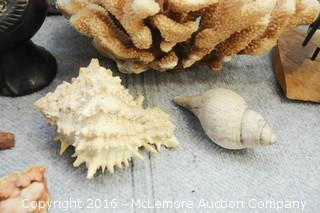 Assortment of Home Decor of Geodes, Puffer Fish,Coral and Shells