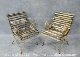 Pair of Vintage English Wrought Iron Garden Chairs with Wooden Seat and Back