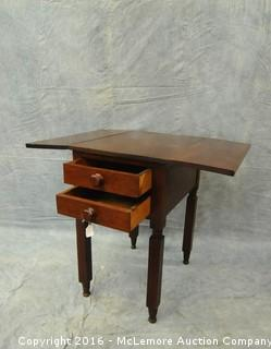 Antique 1850's Walnut 2 Drawer Drop Leaf Table