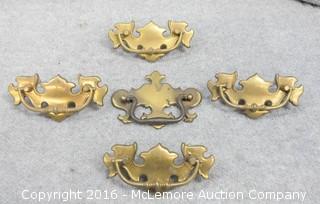 5 Vintage Brass Drawer Pulls