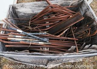 Wooden Crate with Contents of Rebar and Concrete Form Stakes
